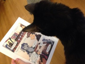 InkyGirl inspects my work. 'Needs more kittehs.'