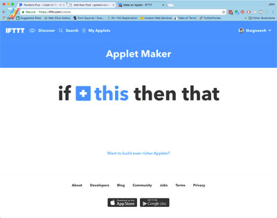 The IFTTT Applet Maker page.