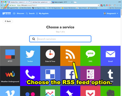 Select the RSS feed option.