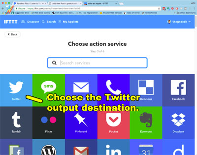 Choose the Twitter output destination.