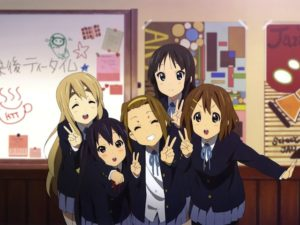 From left to right: Mugi, Azusa, Ritsu, Mio, and Yui