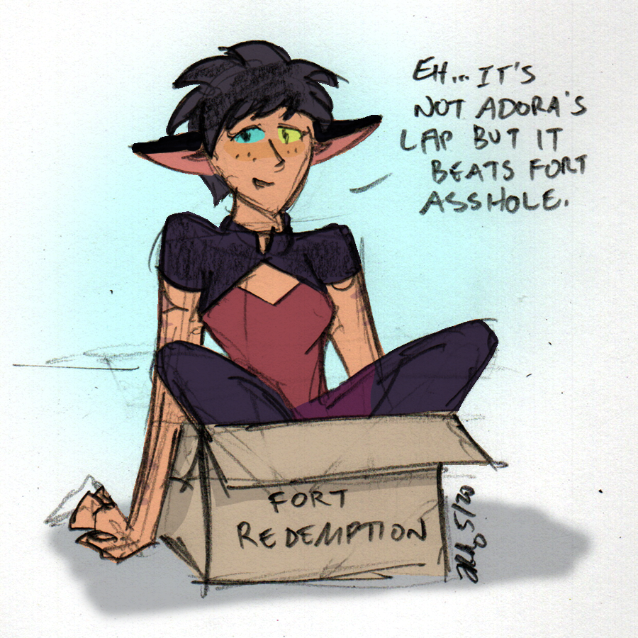 Catra fits, so she sits.