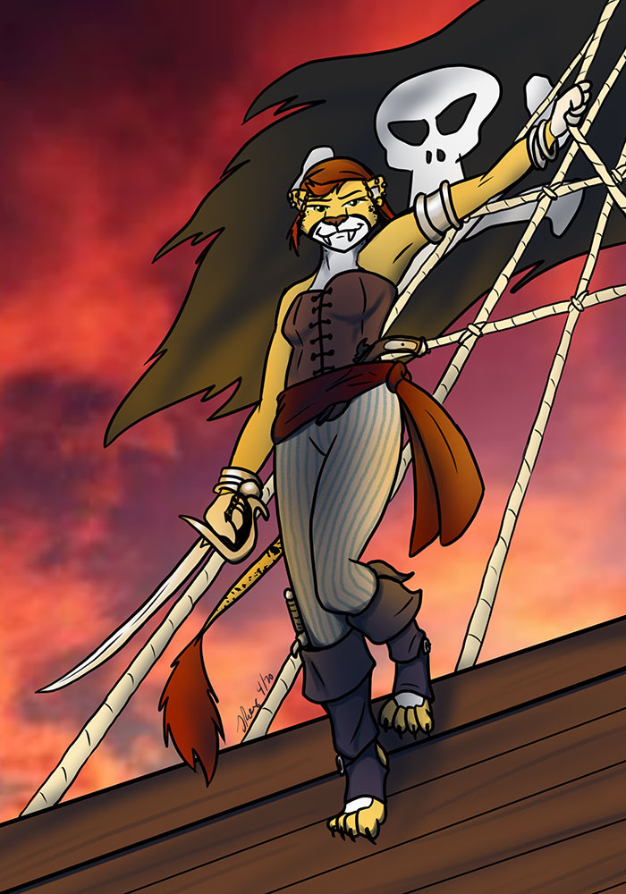 Pirate Mooncat D&D Portrait