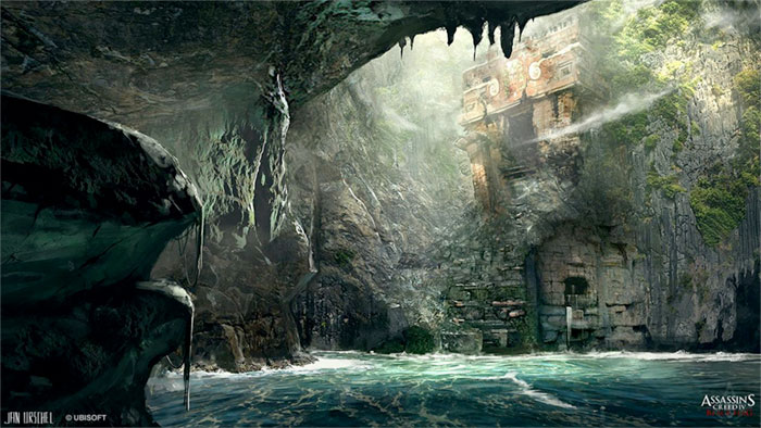Sea cave concept art from Assassin's Creed IV